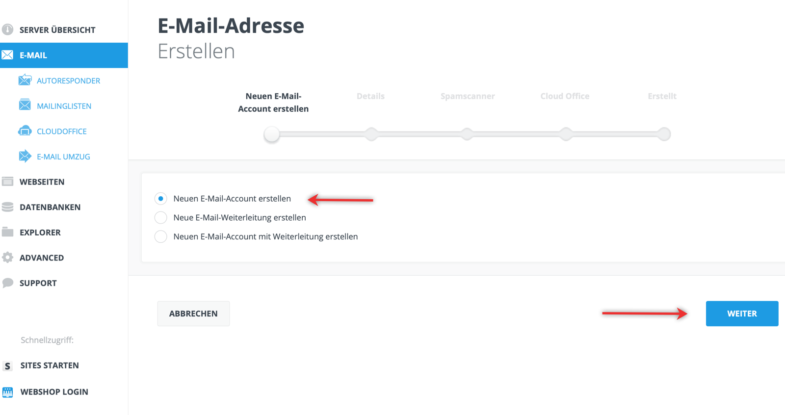 neue email anlegen