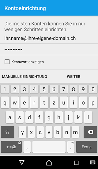 E-Mail-Konfiguration mit Android