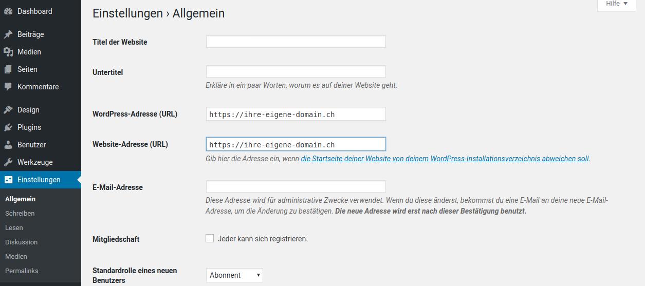 Wie stelle ich WordPress auf https um?