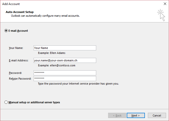 step by step e mail configuration for outlook 2016 rh support hostpoint ch apple mail exchange manual setup Paper Mail Setup
