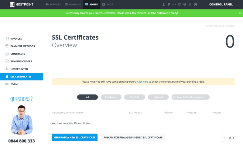 Generate a new SSL Certificate